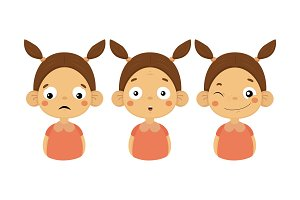 Flat vector set of girl with