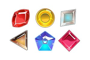 Vector set of 6 glossy stones of