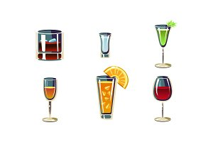 Cartoon vector set of alcoholic