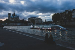 Evening on the banks of the Seine in