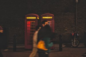 Evening street life in London