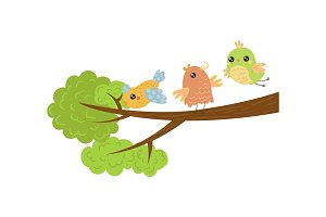 Three little birds on tree branch