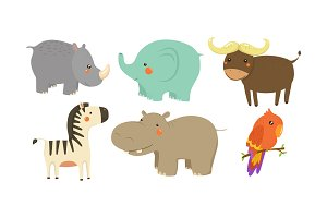 Set of African animals. Adorable