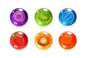 Colorful glossy balls set, shiny