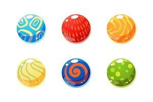 Colorful glossy balls set, bright