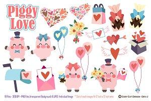 Piggy Love Digital Clip Art