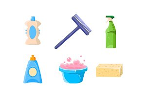 Household cleaning supplies set
