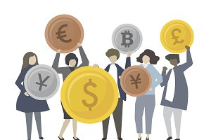People with financial icons illustra