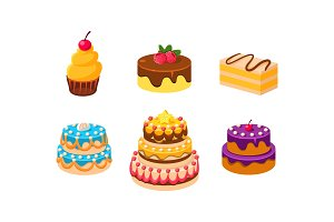 Collection of cakes set, confection