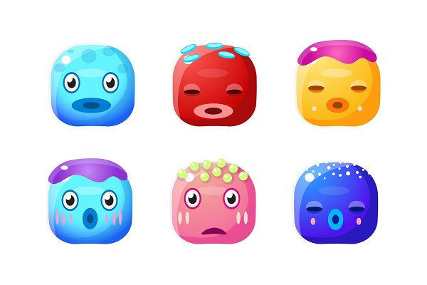 Collection of cute glossy buttons