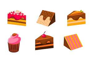 Collection of cakes set, piece of