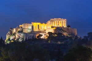 Acropolis Hill and Parthenon in