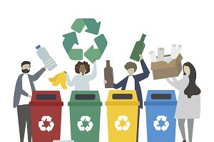Green people recycling waste