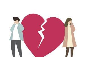 Couple with broken heart
