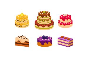 Collection of cakes set, various