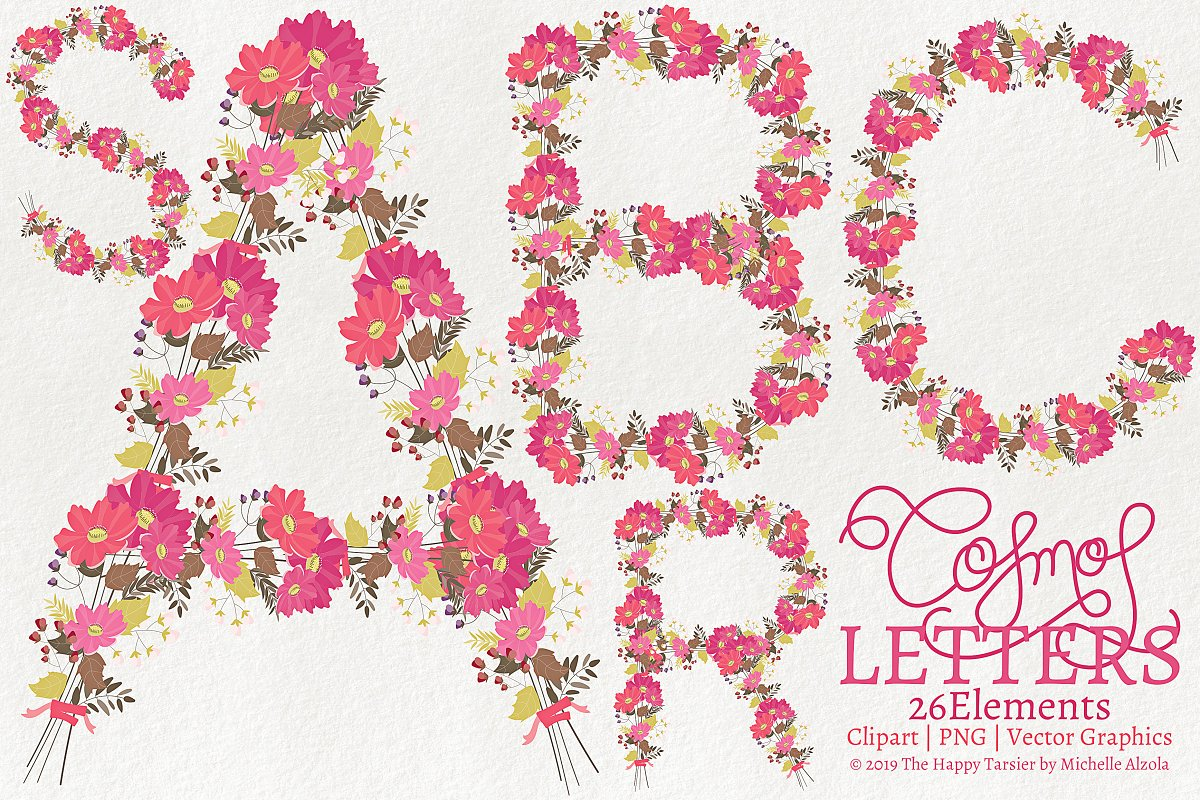 Cosmos 01  Letters 01 Flower Clipart in Illustrations - product preview 8