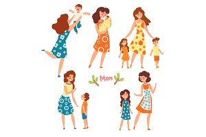 Mothers and their kids set, moms