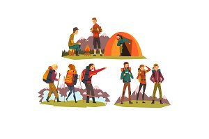People travelling together, camping