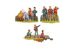 Men travelling together, camping