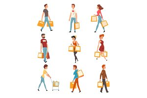 People with shopping bags set
