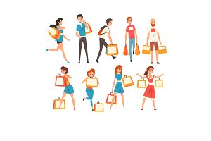 Collection of people with shopping