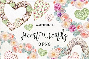 Watercolor floral Heart Wreath
