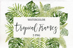 Watercolor Tropical Frames