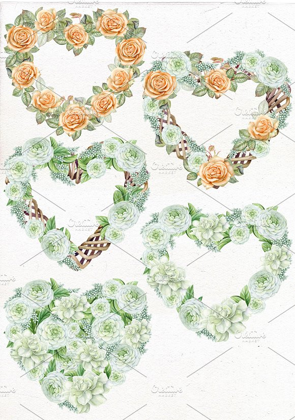 Valentine's Heart Wreath Clipart in Illustrations - product preview 1