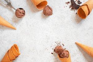 Background with chocolate ice cream