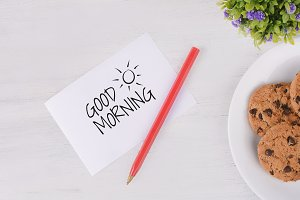 """Paper card with """"good morning"""" text"""