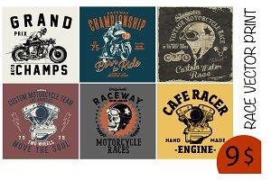 MOTORCYCLE RACE TEE PRINTS x6