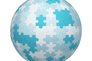 White and blue jigsaw puzzle pieces