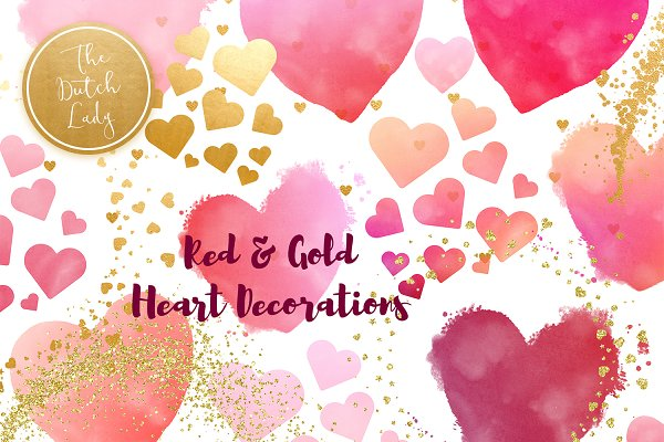 Painted Hearts & Golden Decoration