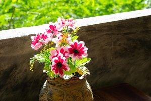 Flower in old pot