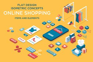 Online shopping isometric set