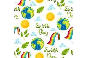 Happy Earth Day seamless pattern.