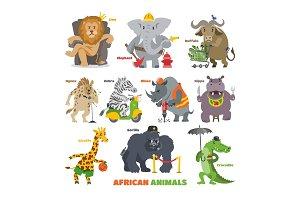 African animals vector cartoon wild