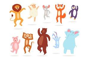 Dancing animals vector animalistic