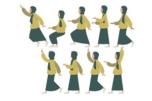 Modular Hijabi Woman Illustration