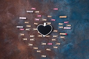 beautiful heart made of clothespins