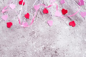 Branches in the snow with pink and