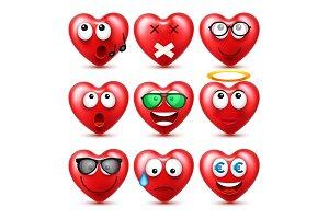 Heart Smiley Emoji Vector Set For