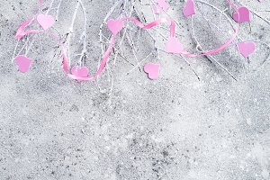 Branches in the snow with pink