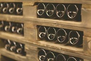 Image of racks with bottles of wine