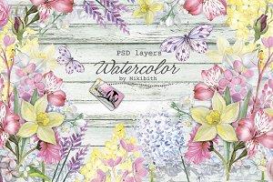 Spring flowers PSD