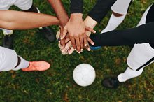 Close up of hands of players by  in Sports