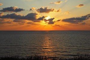 Sparkling sunset above Mediterranean