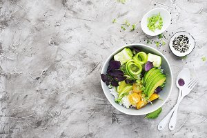 Vegetables rice bowl salad. Avocados