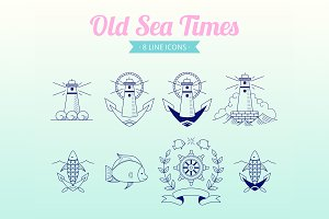 Old Sea Times | 8 line icons