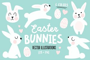 Easter Bunnies - Illustration Set